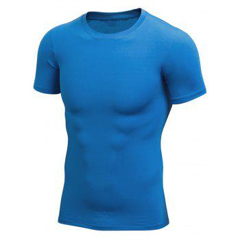 Stretchy Fitted Short Sleeve Gym T-shirt - BLUE BLUE