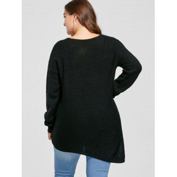 Plus Size Side Slit V Neck Sweater - BLACK 3XL