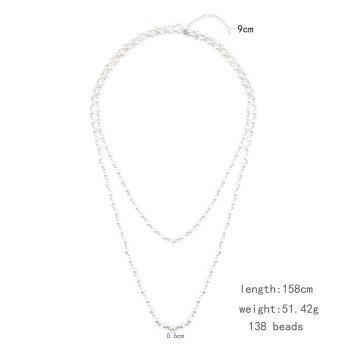 Statement Faux Pearl Sweater Chain - SILVER