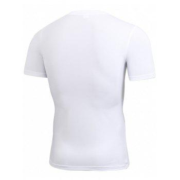 Stretchy Fitted Short Sleeve Gym T-shirt - WHITE 2XL