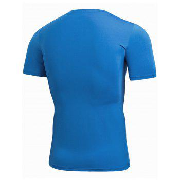 Stretchy Fitted Short Sleeve Gym T-shirt - BLUE S