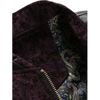 Zip Up PU Leather Panel Floral Velvet Jacket - WINE RED 3XL