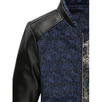 Zip Up PU Leather Panel Floral Velvet Jacket - BLUE 3XL