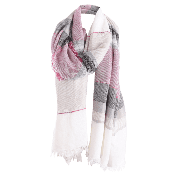 Fringed Brim Checked Cotton Blended Shawl Scarf - WHITE