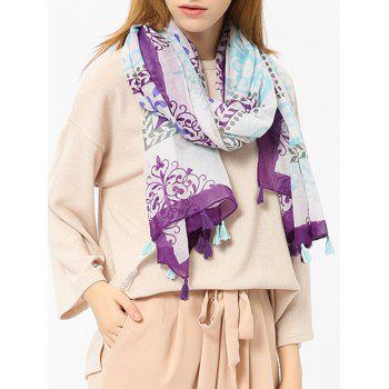 Retro Ombre Floral Shawl Scarf with Tassels - PURPLE PURPLE