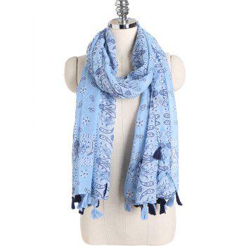 Paisley Pattern Retro Shawl Scarf with Tassels -  LIGHT BLUE