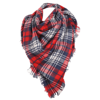 Checked Fringed Brim Cotton Blended Shawl Scarf -  RED