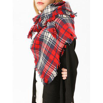 Checked Fringed Brim Cotton Blended Shawl Scarf - RED RED