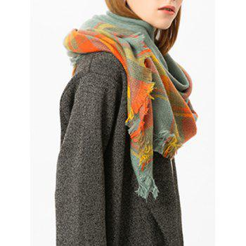 Checked Fringed Brim Cotton Blended Shawl Scarf - BRIGHT ORANGE