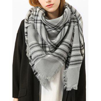 Checked Fringed Brim Cotton Blended Shawl Scarf - GRAY GRAY