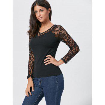 Lace Long Sleeve T-shirt with Button - BLACK XL
