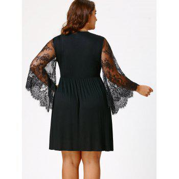 Empire Waist Plus Size Tunic Dress - BLACK 2XL