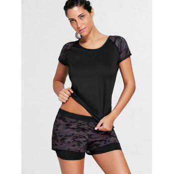Camo Short Sleeve Sports Raglan Tee - BLACK L