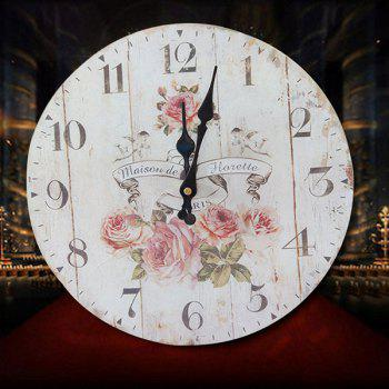 Floral Round Analog Wood Wall Clock - WHITE 30*30CM