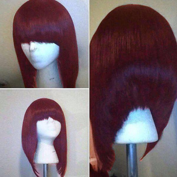 Full Bang High Low Short Straight Bob Synthetic Wig - WINE RED