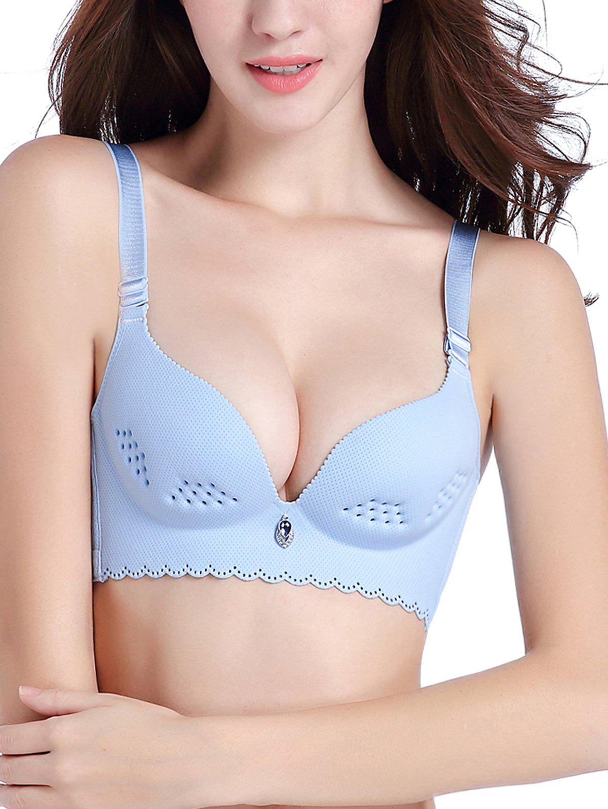 Openwork Scallop Trim Seamless Bra - CLOUDY 70B