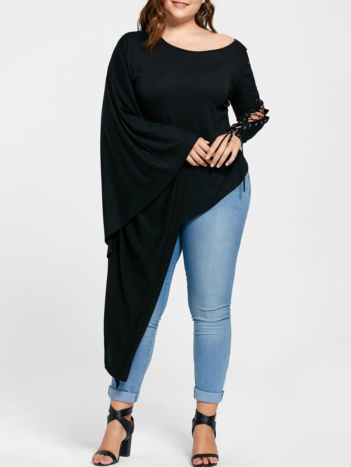 Plus Size Lace Up Batwing Sleeve Asymmetric T-shirt - BLACK 5XL