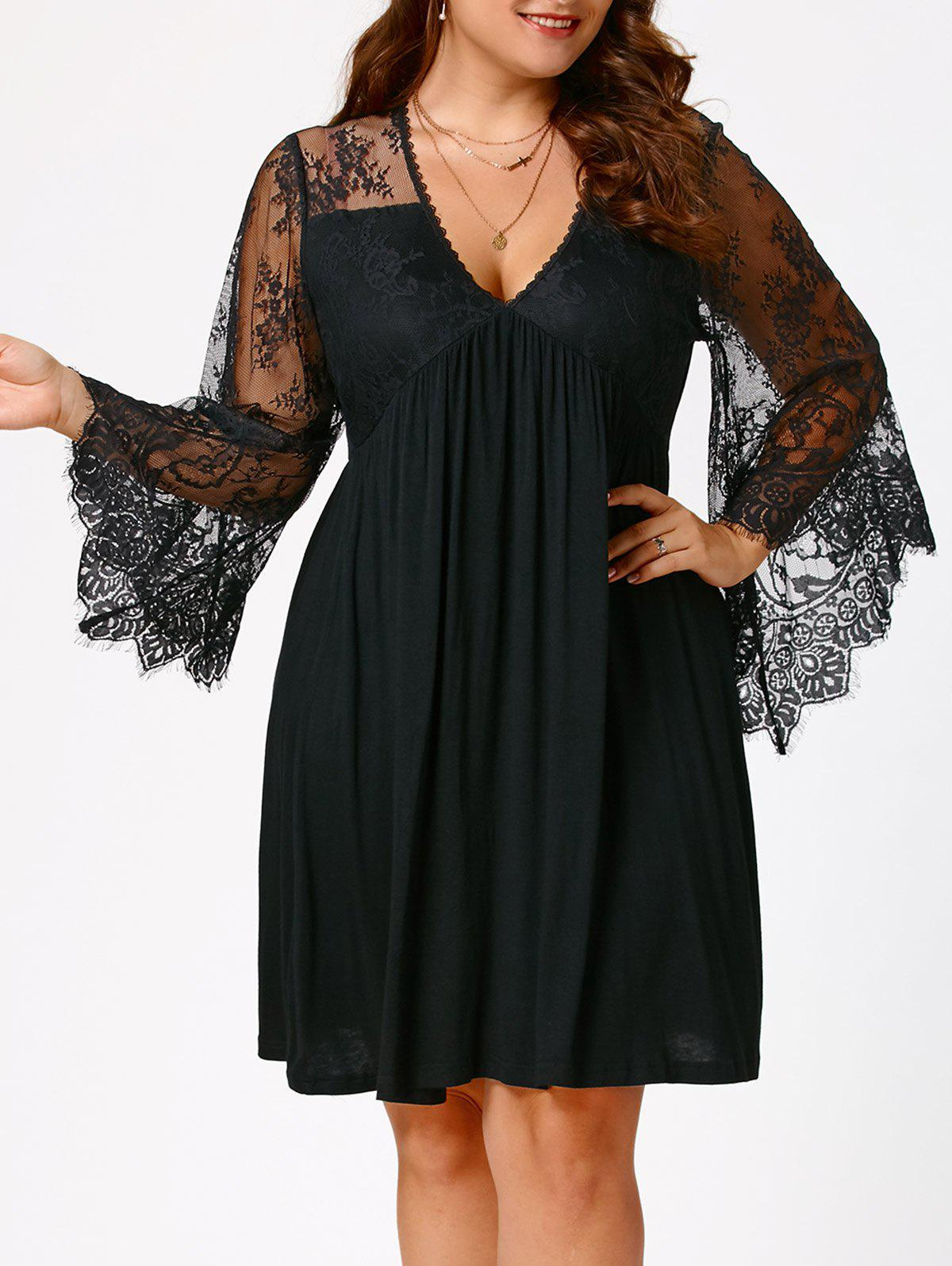 Empire Waist Plus Size Tunic Dress - BLACK 4XL