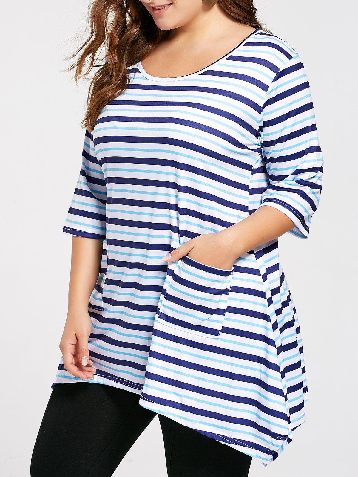 Plus Size Front Pocket Striped Asymmetric Tunic T-shirt - BLUE 3XL