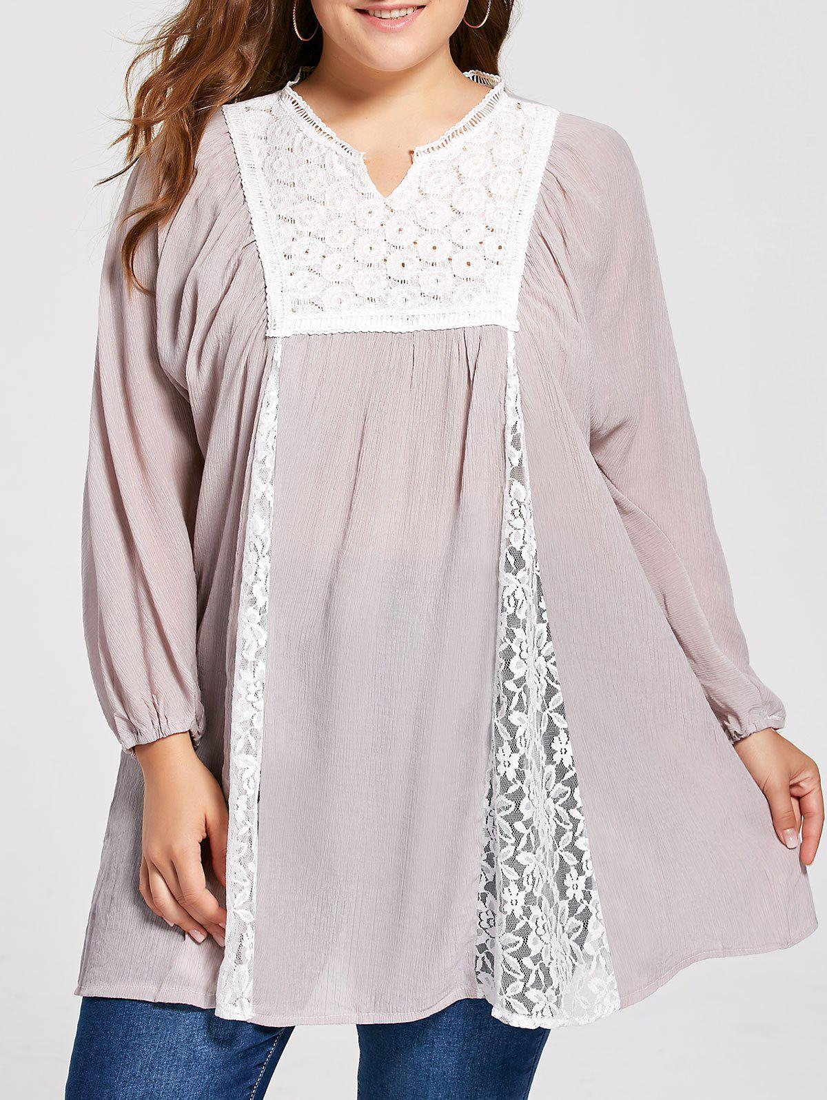 Plus Size Notched Lace Panel Pleated Peasant Top - PALE PINKISH GREY 2XL