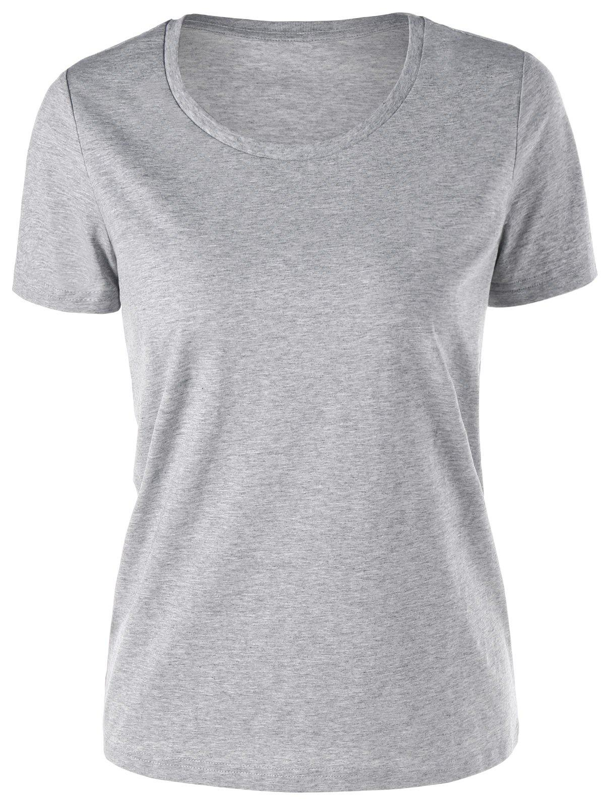 Basic Short Sleeve T-shirt - GRAY 2XL