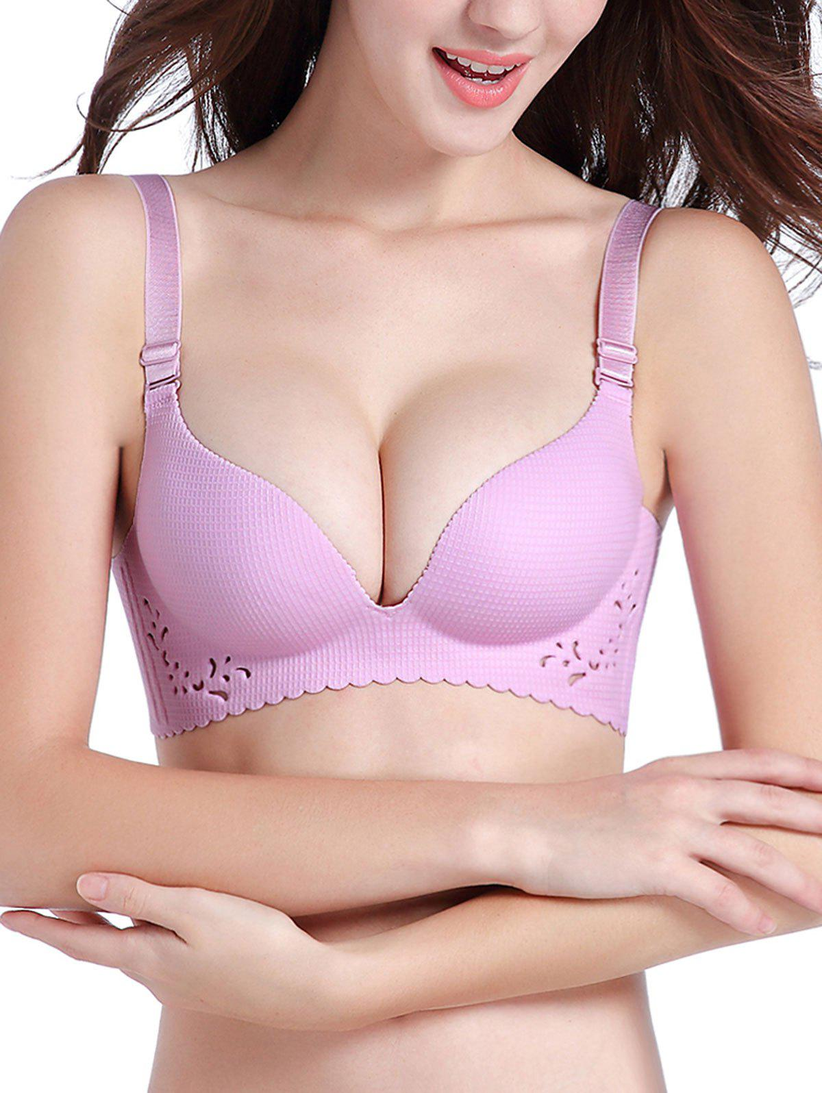 Scallop Trim Openwork Seamless Bra - LIGHT PURPLE 70B