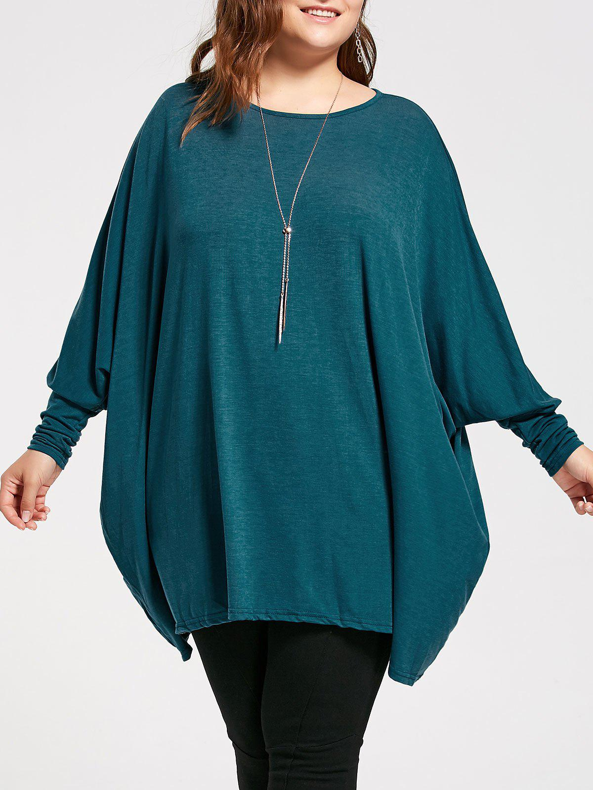 Plus Size Long Sleeve Poncho T-shirt - MALACHITE GREEN XL