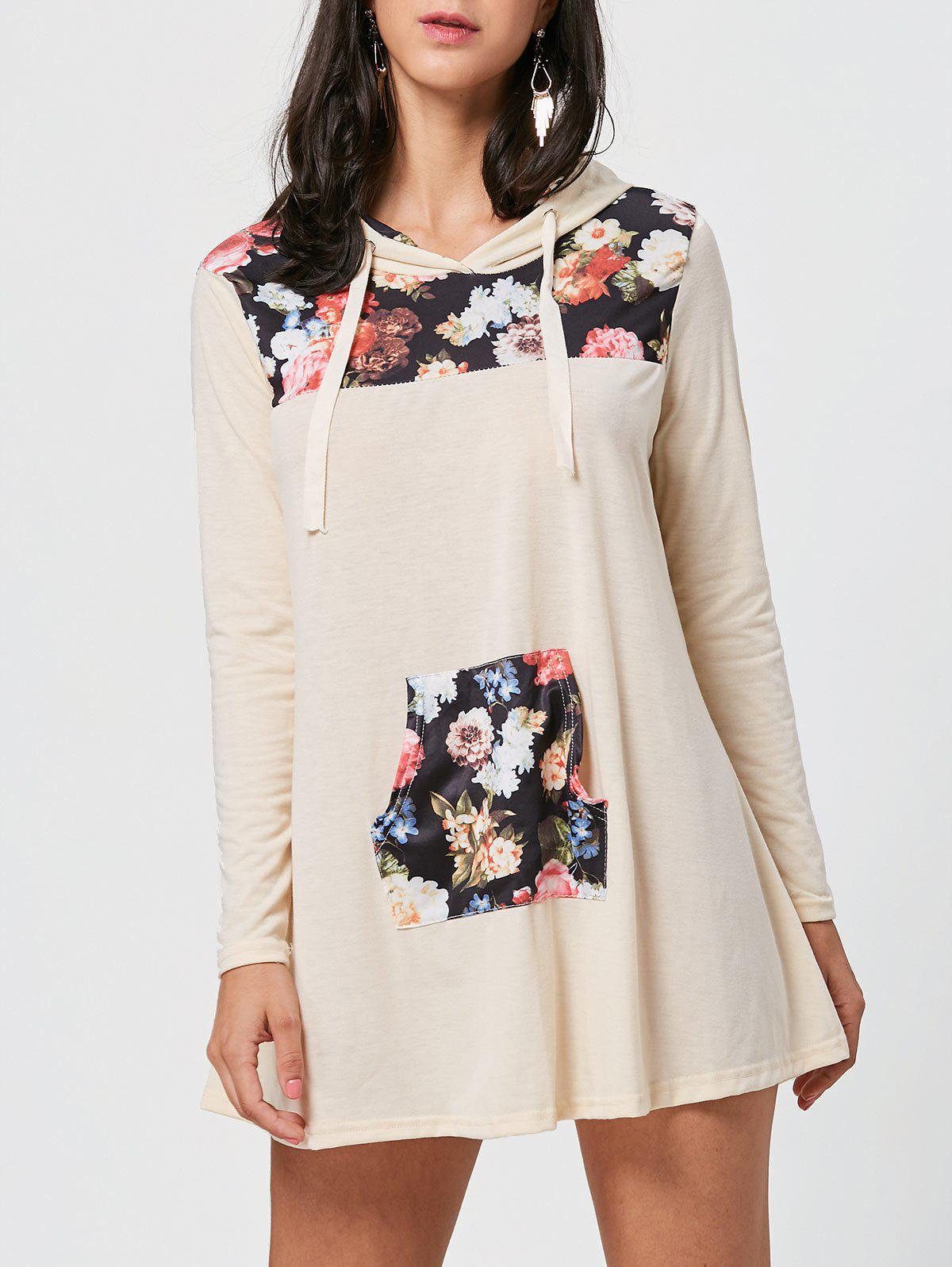 Floral Print Kangaroo Pocket Hooded Mini Dress - COLORMIX XL