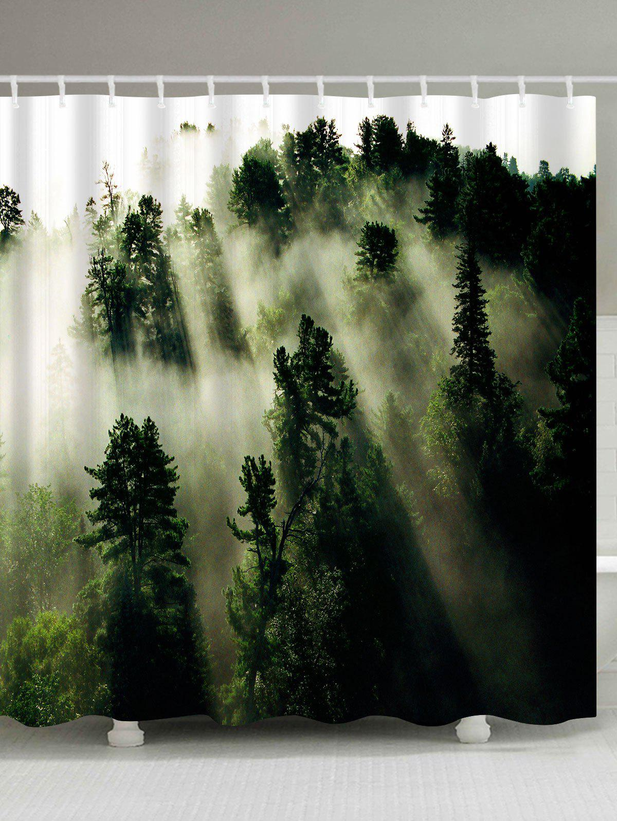 Forest Trees Fog Print Fabric Bathroom Shower Curtain - GREEN W71 INCH * L79 INCH