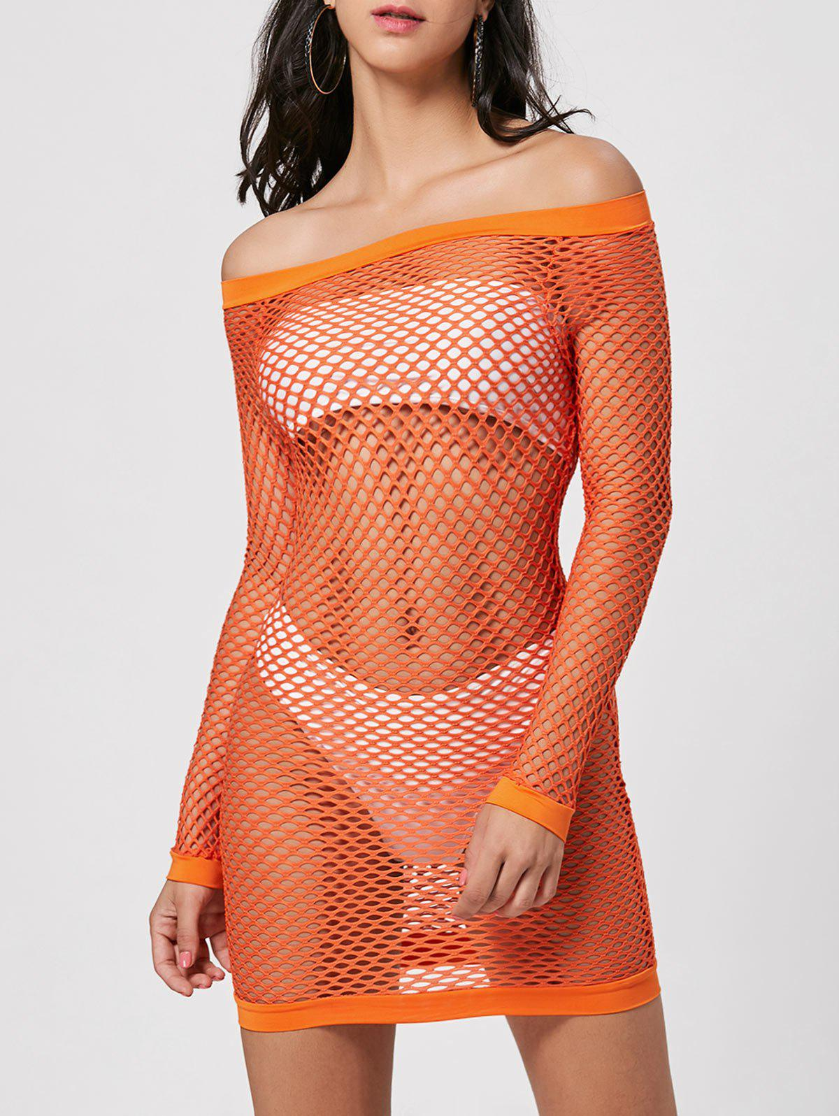 Long Sleeve Openwork Sheer Dress - JACINTH XL