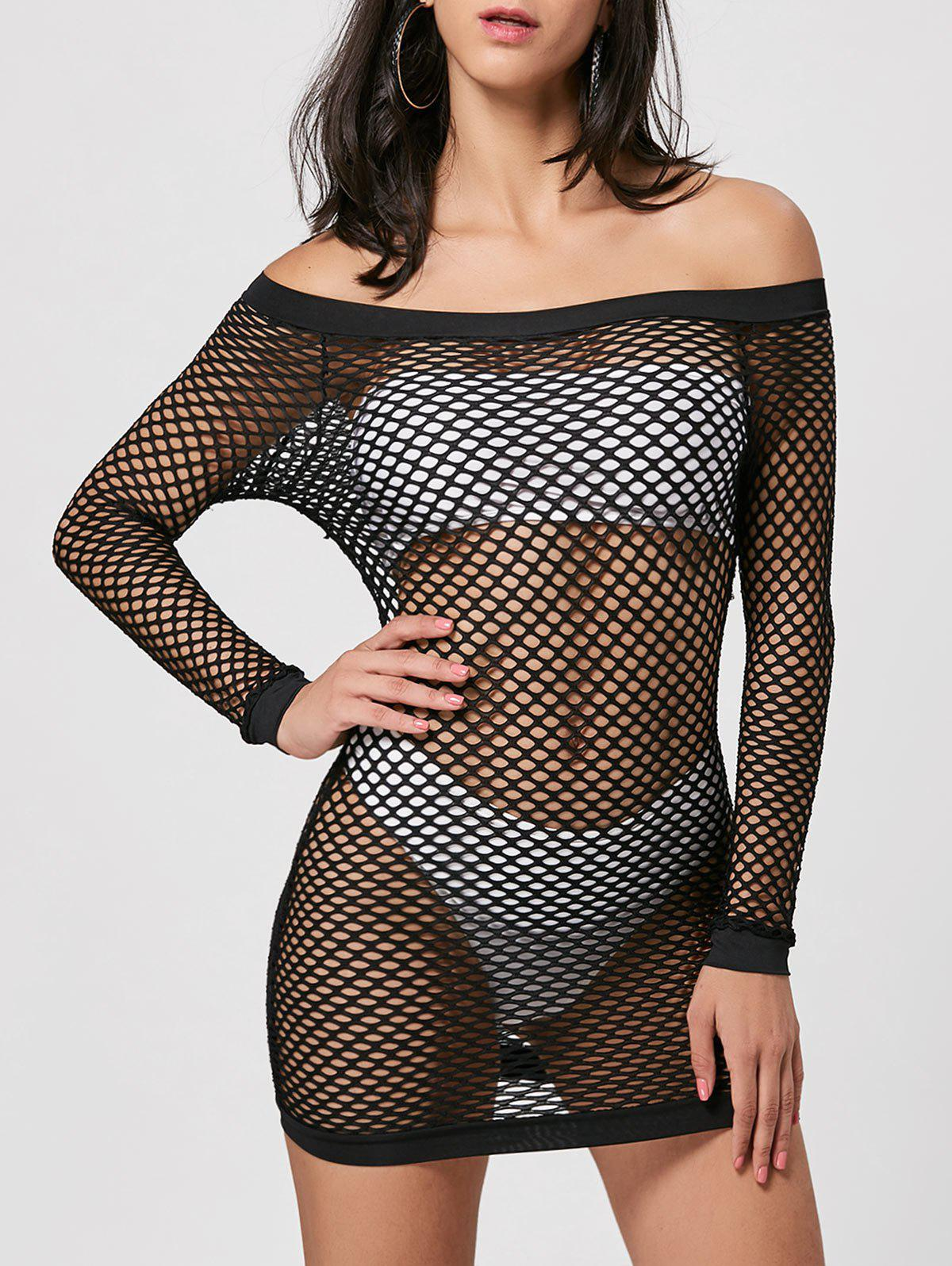 Long Sleeve Openwork Sheer Dress - BLACK L