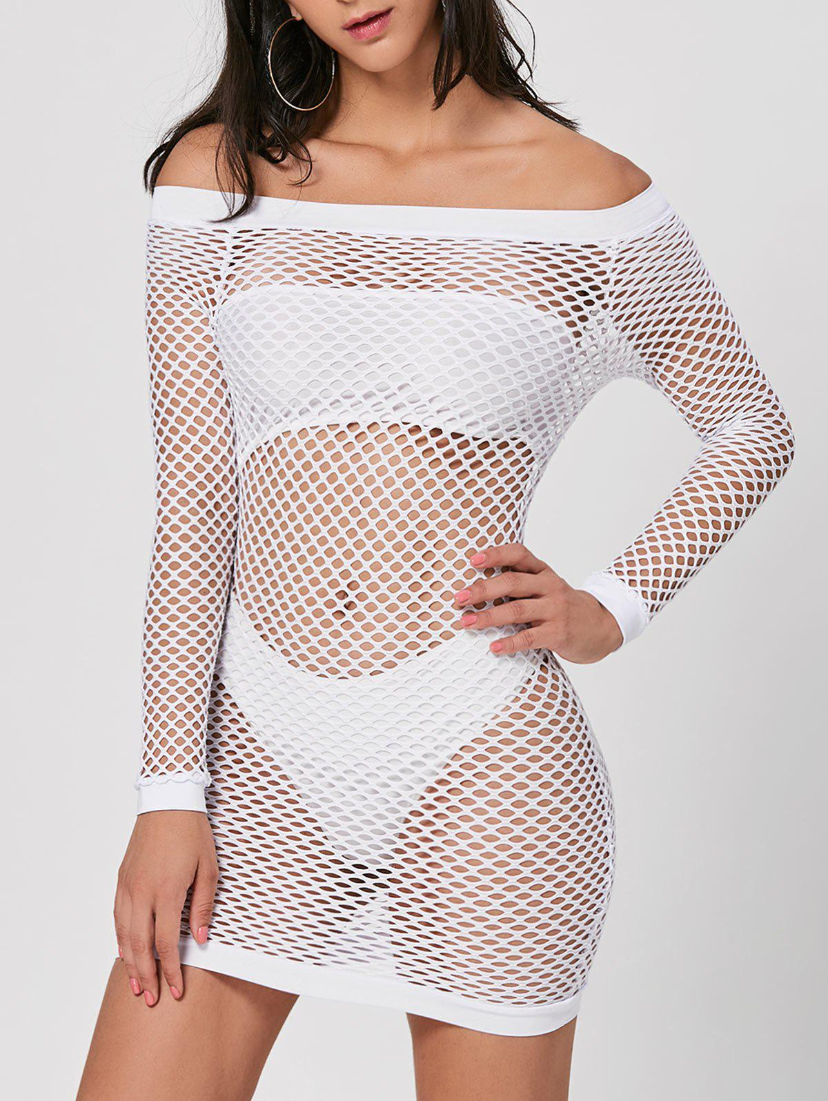 Long Sleeve Openwork Sheer Dress - WHITE M