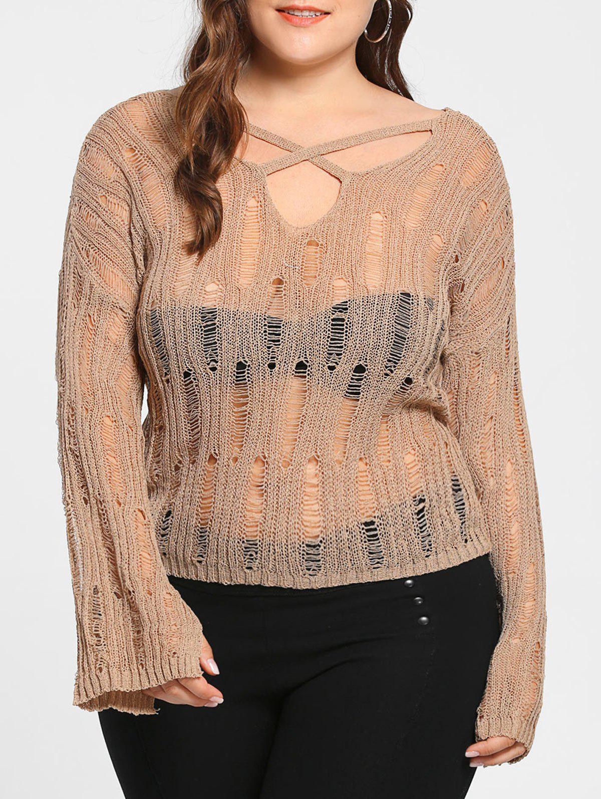 Plus Size Sheer Distressed Cutout Sweater - APRICOT ONE SIZE