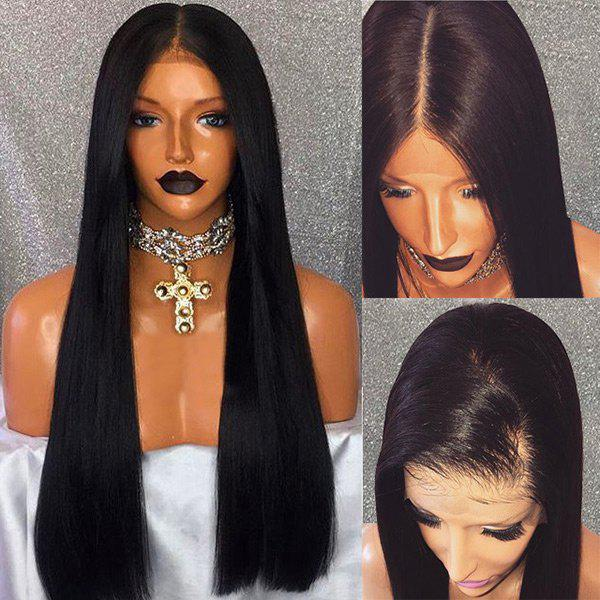 Long Free Part Straight Human Hair Lace Front Wig - BLACK