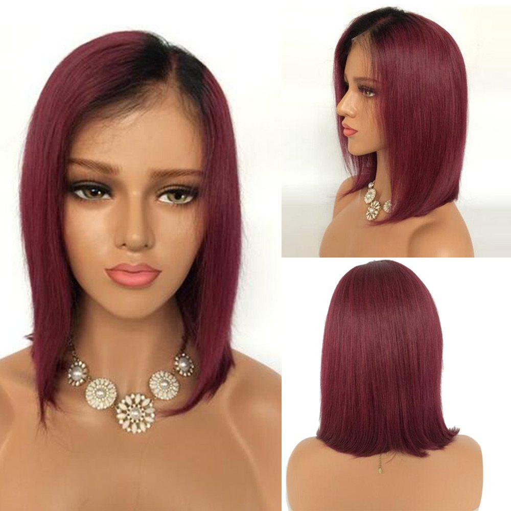 Short Ombre Side Part Straight Bob Lace Front Human Hair Wig - BLACK/RED