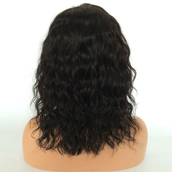Medium Center Parting Natural Wave Human Hair Lace Front Wig - NATURAL BLACK