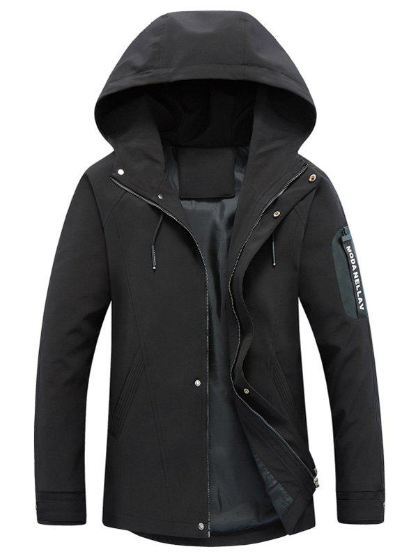 Hooded Drawstring Graphic Braid Jacket - BLACK XL