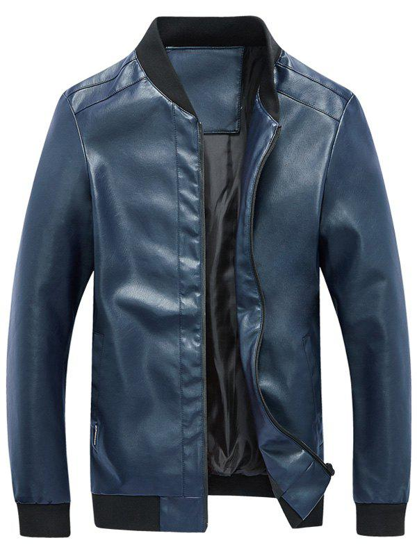 Rib Panel Faux Leather Zip Up Jacket - BLUE 3XL