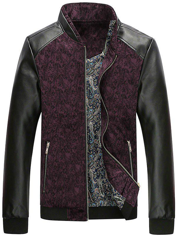 Zip Up PU Leather Panel Floral Velvet Jacket - WINE RED L