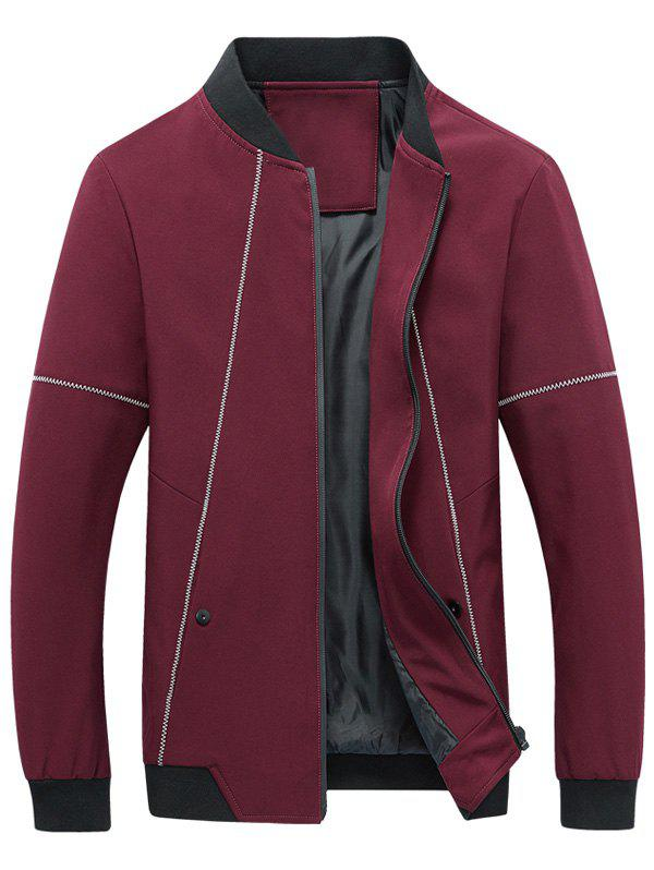 Stand Collar Zip Up Suture Panel Jacket - Rouge XL