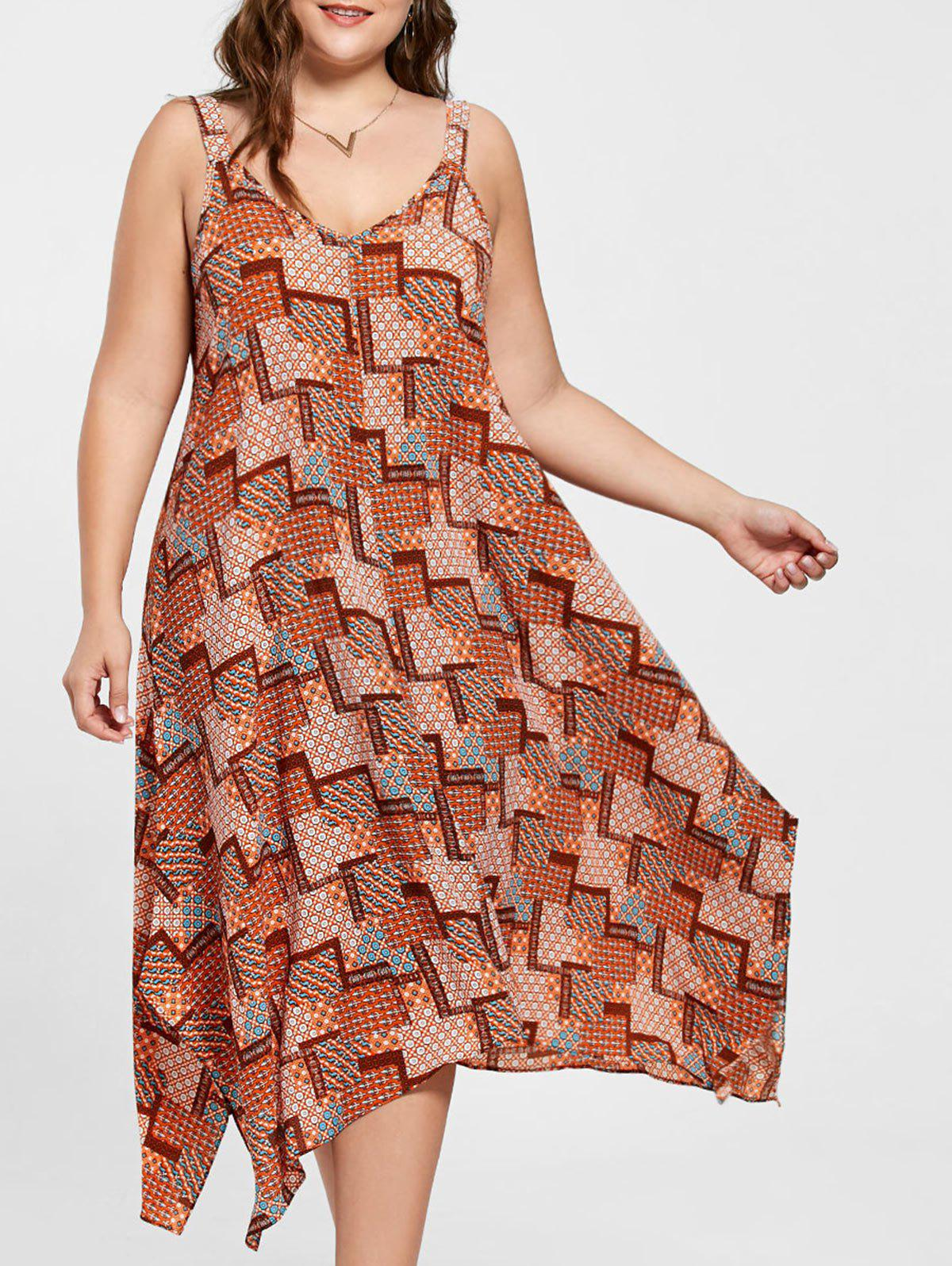 Plus Size Spaghetti Strap Geometric Print Handkerchief Dress - ORANGE 5XL
