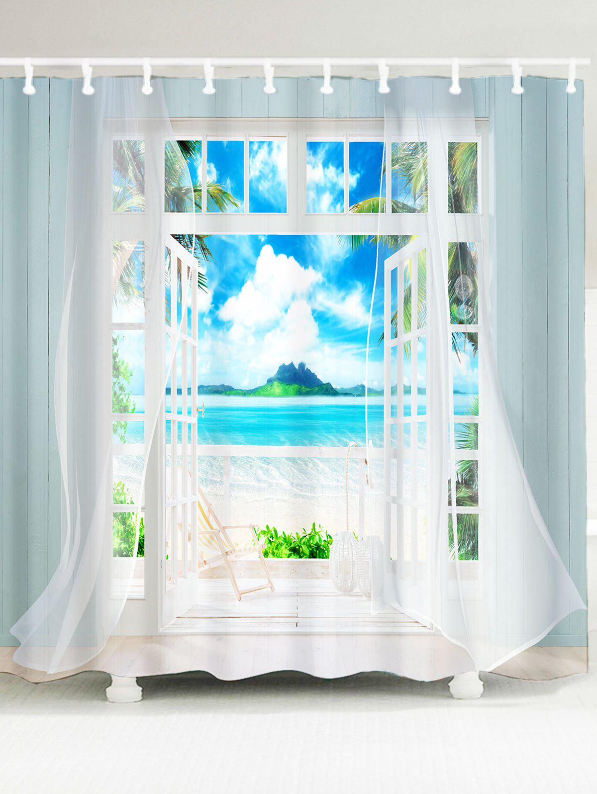 Waterproof 3D Window Frame Printed Shower Curtain waterproof functions blackboard printed shower curtain