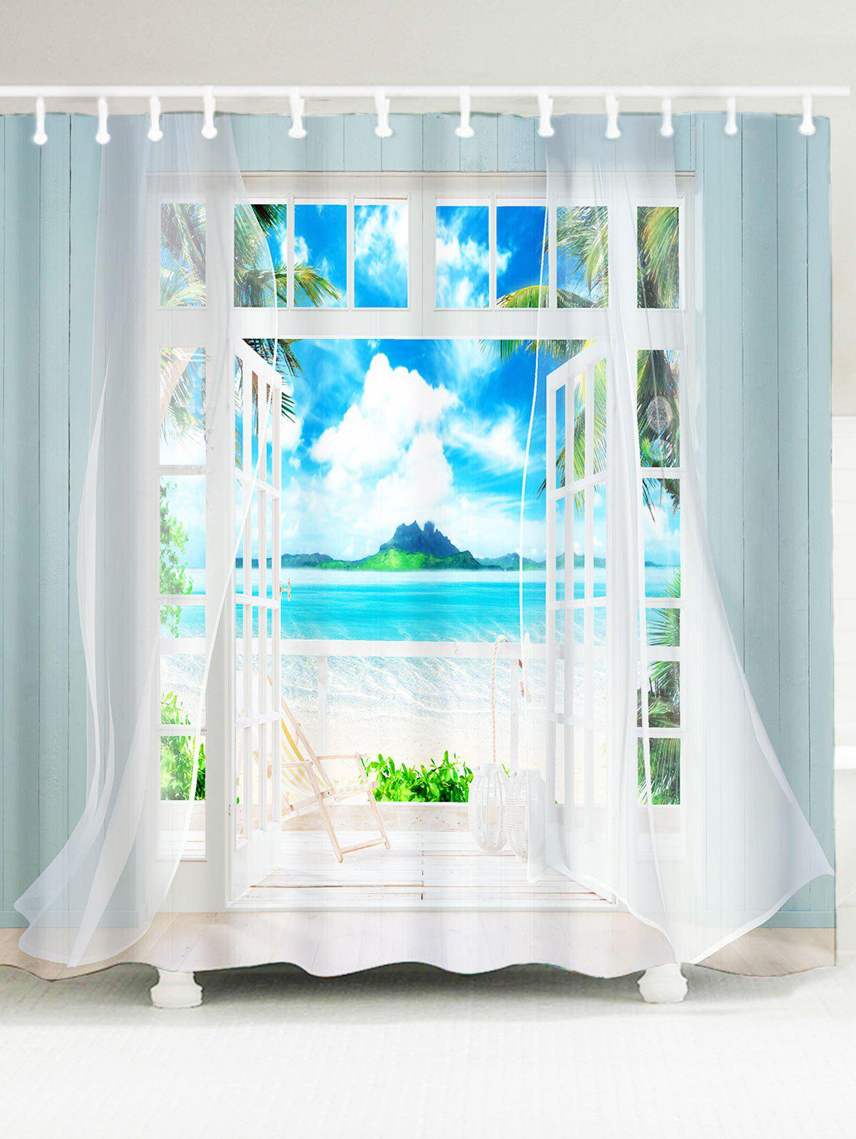 Waterproof 3D Window Frame Printed Shower Curtain - BLUE W79 INCH * L71 INCH