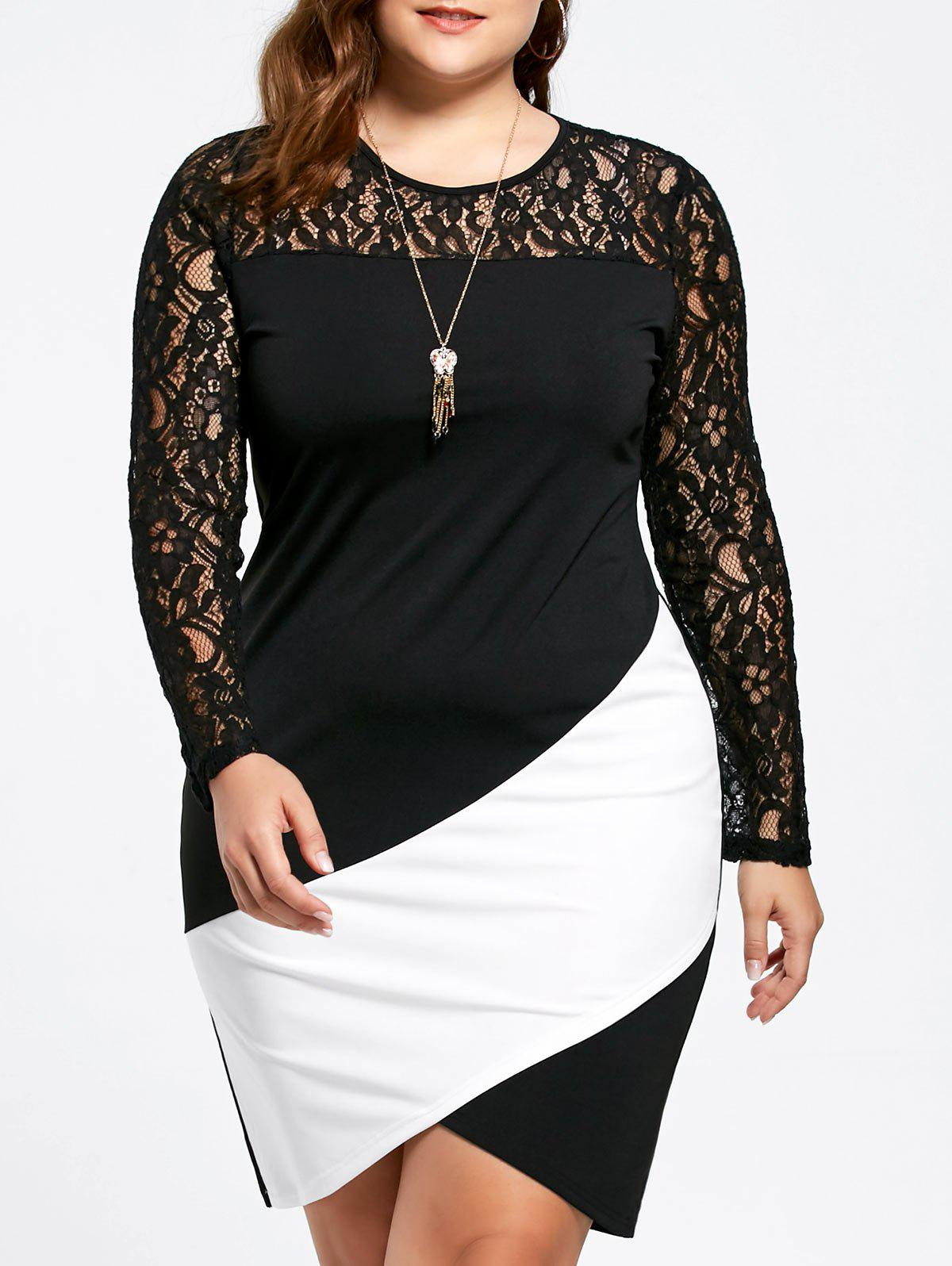 Plus Size Lace Panel Asymmetric Long Sleeve Dress - WHITE/BLACK 2XL