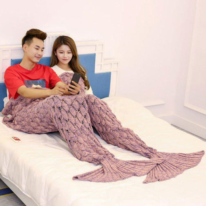 Fish Scale Knitted Pattern Mermaid Blanket For Lovers - PINK 180*155CM