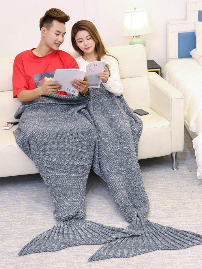 Knitted Throw Wrap Mermaid Blanket For Lovers - GRAY 180*155CM