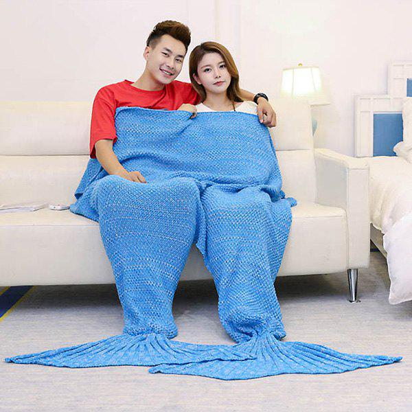 Knitted Throw Wrap Mermaid Blanket For Lovers - ICE BLUE 180*155CM