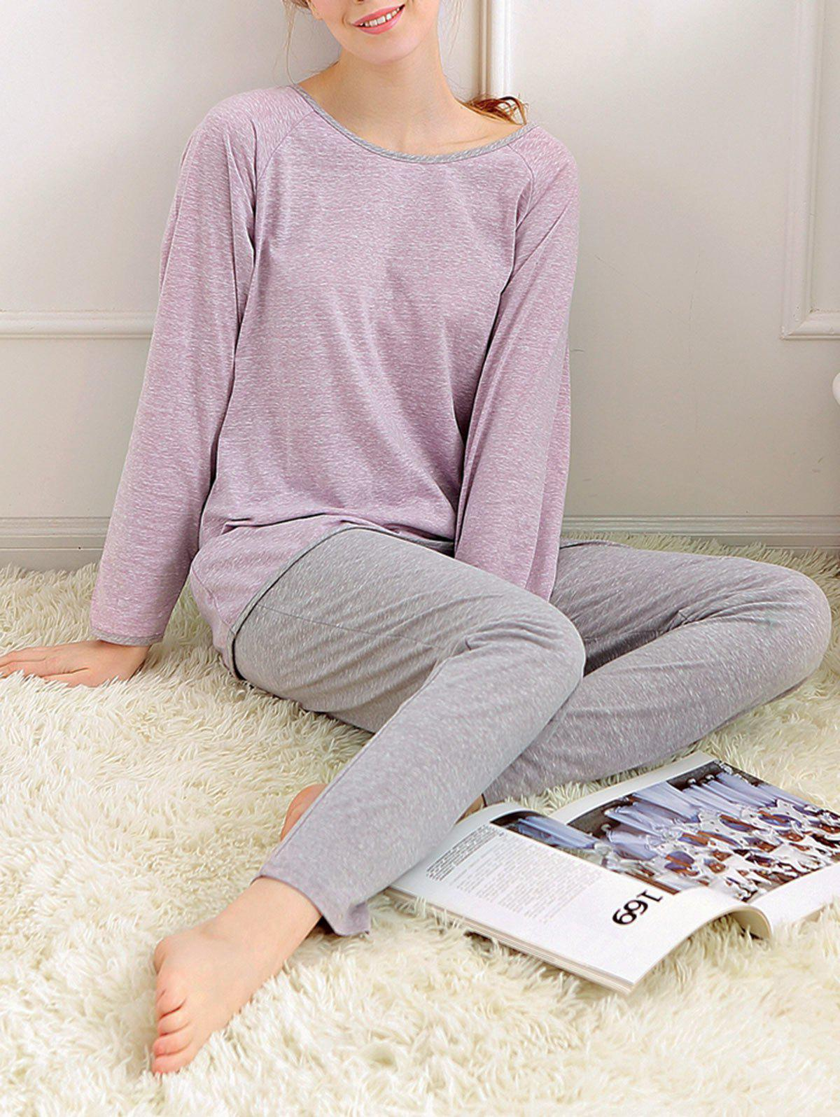 Long Sleeves Pajamas T-shirt and Pants - LIGHT PURPLE XL