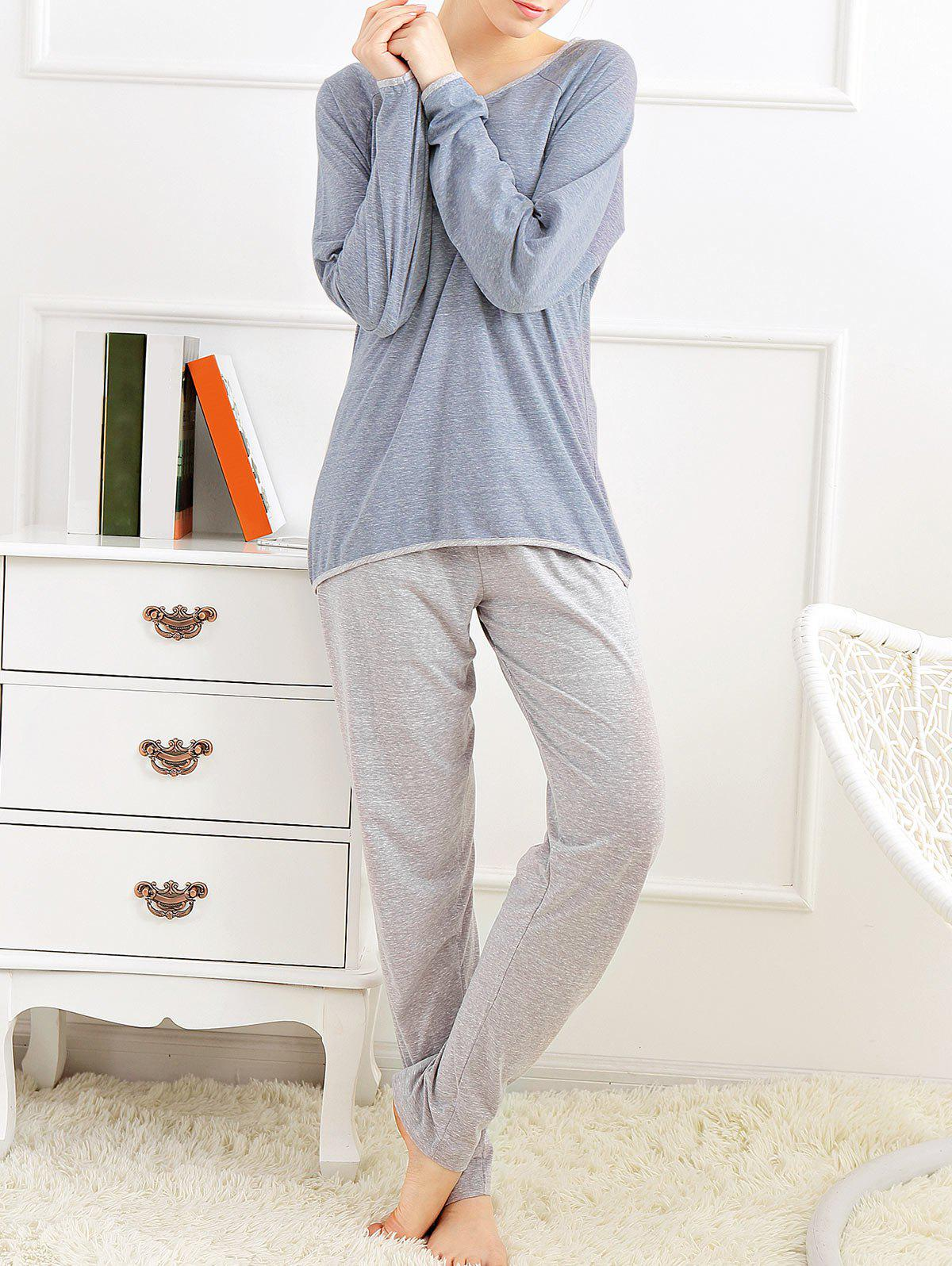 Long Sleeves Pajamas T-shirt and Pants - BLUE GRAY XL