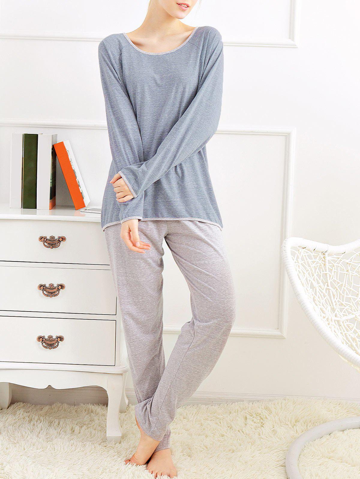 Long Sleeves Pajamas T-shirt and Pants - BLUE GRAY L